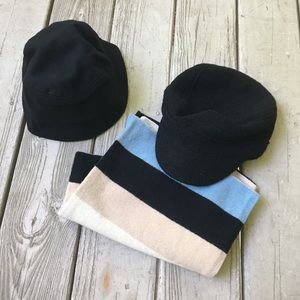Two black wool hats and striped wool scarf bundle